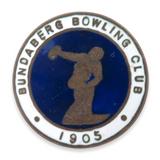 SCARCE c1920s BUNDABERG BOWLING CLUB BADGE.