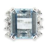 Vintage 13.5 x 11.9mm Aquamarine & Diamond 14k White Gold Ring I 1/2 Val $15900
