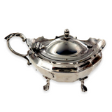 1915 ENGLISH STERLING SILVER CONDIMENT BOWL WITH HANDLE + COBALT BLUE LINER