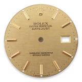 Authentic Rolex 16013 16008 DateJust Gold Linen Stick Dial