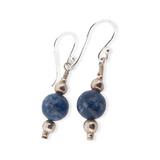 Sweet Pair of Sterling Silver & Sodalite Bead Dangle Earrings 2.3g