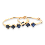 Pretty Gold Plated Sterling Silver Earrings & Simulated Sapphire Accents 3.2g