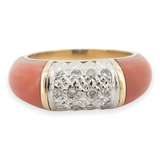 Vintage Natural Coral & Diamond 18k Yellow Gold Ring Size K Val $3980