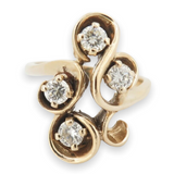 Vintage 0.69ct Diamond Set 14k Yellow Gold Dress Ring Size O Val $3730