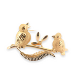 Gorgeous Italian 18ct Yellow Gold Pair of Singing Birds on a Branch Brooch 5.7g