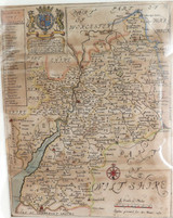 RARE 100% GENUINE 1671 HANDCOLOURED MAP OF WILTSHIRE, UK with GLOCESTER HUNDREDS
