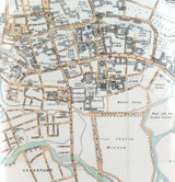 1895 LARGE COLOUR MAP of OXFORD, UK. MATTED READY TO FRAME.