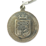 """RARE c1960s DULUX PAINT """"SPRING CLUB"""" LUCKY NUMBER STERLING SILVER MEDALLION"""