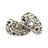 Sterling Silver Decorative Balinese Style Huggie Earrings 4.5g