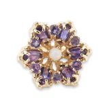 Vintage 14k Yellow Gold Amethyst & Opal Set Star Ring Size L Val $2780