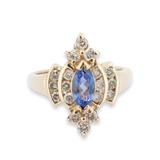 Tanzanite & Diamond Ladies 14k Yellow Gold Dress Ring Size N1/2 Val $4055