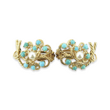 Vintage 14ct Yellow Gold Turquoise & Pearl Ear Clips Val $2840
