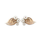 Vintage Pair Of 14ct Yellow Gold Pearl Cluster Earrings Val $2160
