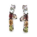 Vintage Sterling Silver Multi-coloured Assorted Gemstone Earrings 3g