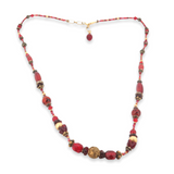 Gorgeous Handmade Red Gem & Glass Beads 14ct Gold Delicate Necklace Length 44cm