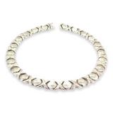 Vintage Italian Stylish Sterling Silver XO Link Choker Style Necklace 45.5g
