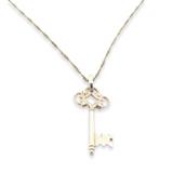 Sterling Silver Decorative Miniature Key Pendant & Sterling Fancy Chain 4.1g