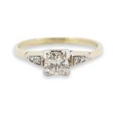 Vintage Handmade 0.38ct Diamond 18k Gold & Palladium Ring Size O Val $3230