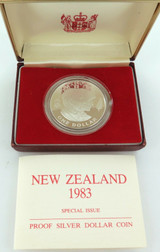 1983 NEW ZEALAND PROOF .925 SILVER $1 + BOX + SPECS