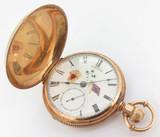 C.1877 Hampden 18s 7 Jewel Full Hunter Pocket Watch Rebel Flag Bleading Heart