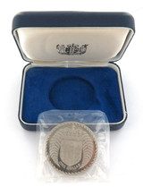 1976 NEW ZEALAND PROOF .925 SILVER $1 + BOX. 27.2 GRAMS 38.7MM