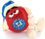 VINTAGE M&M SLEEPY RED BATTERY OPERATED LARGE ALARM CLOCK. WORKING.