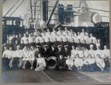 c1935 SUPER RARE MELBOURNE STEAMSHIP LINE TSMV DUNTROON SHIPS CREW LARGE PHOTO.