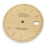 Authentic Rolex 16233 Datejust Champagne Houndstooth Stick Dial
