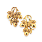 Stunning 22ct Yellow Gold Intertwined Vintage Acorn Themed Earrings 9.8g