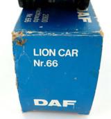 VINTAGE NEAR MINT DAF LION CAR No 65 FLATBED TRUCK + ORIGINAL BOX.