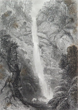 """c1873 ORIGINAL STEEL ENGRAVING """"WATERFALL NEAR ADELAIDE"""" FROM S PROUT SKETCH."""