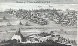 """RARE c1750 COPPERPLATE ENGRAVING """"THE PLAN OF CONSTANTINOPLE"""" by HERMAN MOLL"""