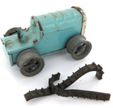 SCARCE VINTAGE TRIANG MINIC TOYS TINPLATE KEY WIND BLUE TRACTOR.