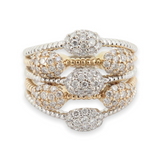 WOW 1.15ct Diamond Cluster 18K Tri Gold Cocktail Ring Size P1/2 Val $7850