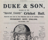 1912 RARE CRICKET ADVERT / DUKE & SON CRICKET BALLS / ENGLAND, AUST, S/AFRICA