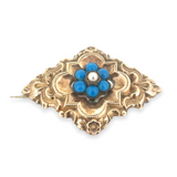 Antique Gilded Sterling Silver Ornate Blue Agate & Seed Pearl Brooch 3.6g