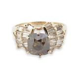 Vintage 3.20 cttw Diamond Set 14K Yellow Gold Cocktail Ring Size O Val $18490