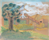 "1945 BRISBANE WATERCOLOUR ON PAPER ""THE POWERHOUSE"" NEW FARM, SIGNED JOYCE 1945"