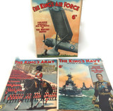"""1930s RARE SET / """"THE KING'S ARMY NAVY AIR FORCE"""" THREE SUPERB LARGE MAGAZINES."""