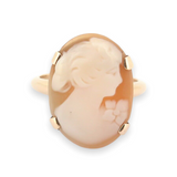 Vintage 14ct Yellow Gold Cameo Carved Shell Portrait Ring Size M 3.4g
