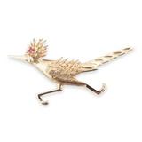 A 14k Yellow Gold Roadrunner Bird Ruby Set Brooch Val $2100