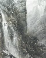 "c1873 ORIGINAL STEEL ENGRAVING ""WEATHERBOARD FALLS, NSW"" S PROUT SKETCH."
