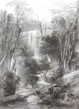 """c1873 ORIGINAL STEEL ENGRAVING """"WILLOUGHBY FALLS, NEAR SYDNEY"""" S PROUT SKETCH."""