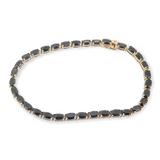 A Classic Australian Sapphire Set 14K Gold Bracelet 18cm Long Val $4230