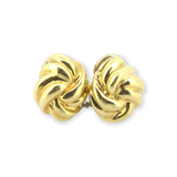 Classic Vintage Twisted Love Knot 14ct Yellow Gold Clip-on earrings 7.8g
