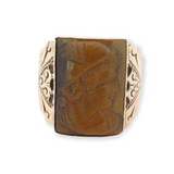 Stunning Vintage 10ct Rose Gold & Carved Tigers Eye Cameo Signet Ring Size T1/2