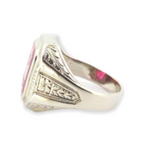 Antique Art Deco 14k White Gold BPOE Engraved Synthetic Ruby Ring Size R1/2