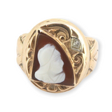 Victorian 14ct Rose Gold Carnelian Cameo & Diamond Accent Signet Ring Size X1/2
