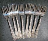 Sterling Silver S. Kirk & Son Floral Repoussé Style Set of 8 Salad Forks 300g