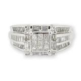 1.75ct Diamond Set 14k White Gold Cluster Ring Size O Val $6930